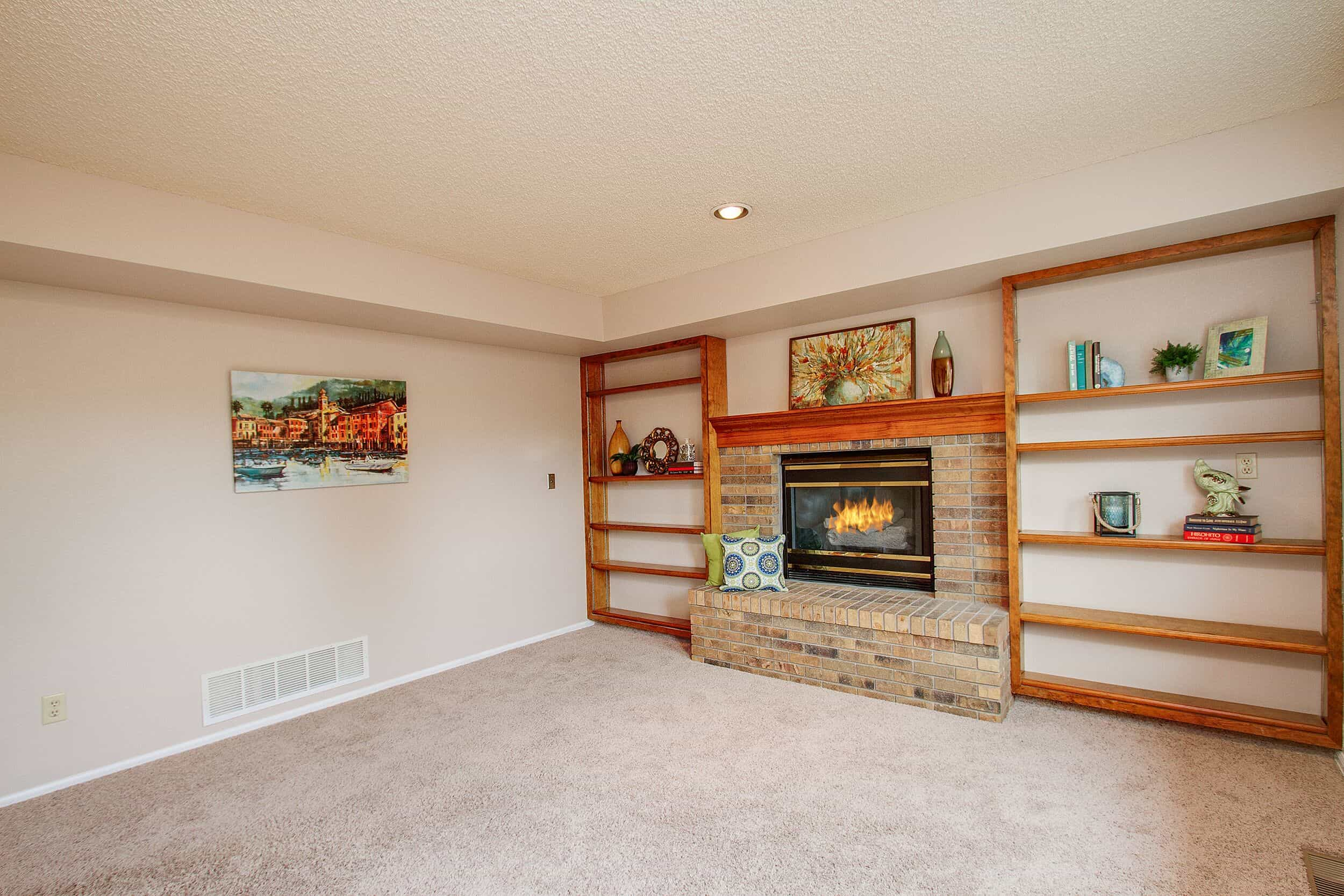 Family Room with Gas Log Fireplace and Built-Ins