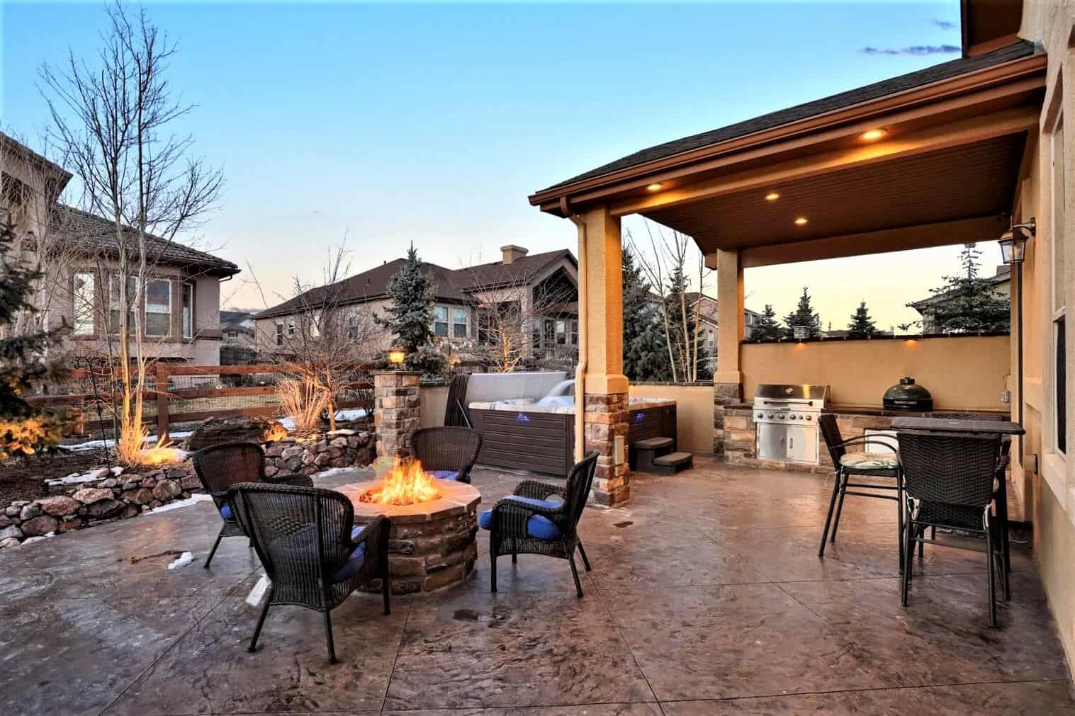 Backyard Patio with Built-In BBQ and Gas Plumbed Fire Pit