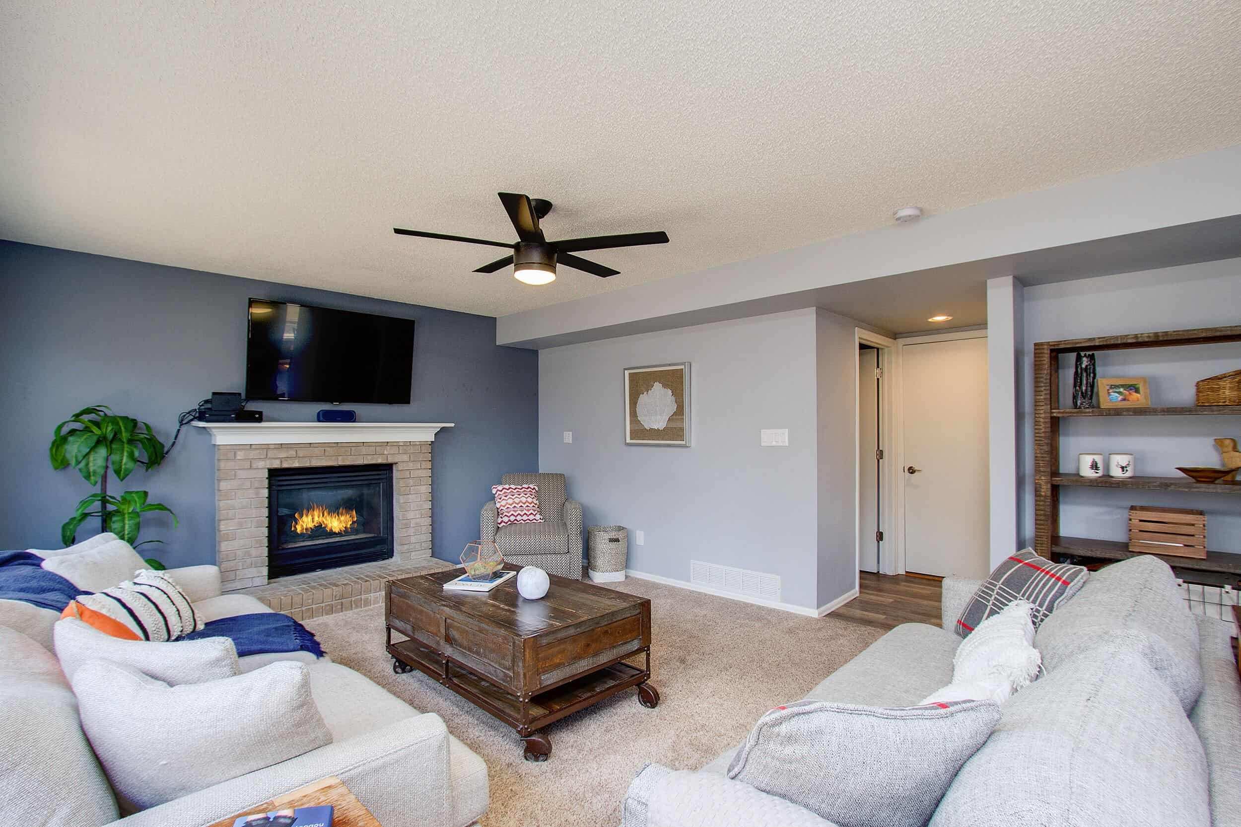 Family Room with Entry to Powder Bath, Laundry and Garage