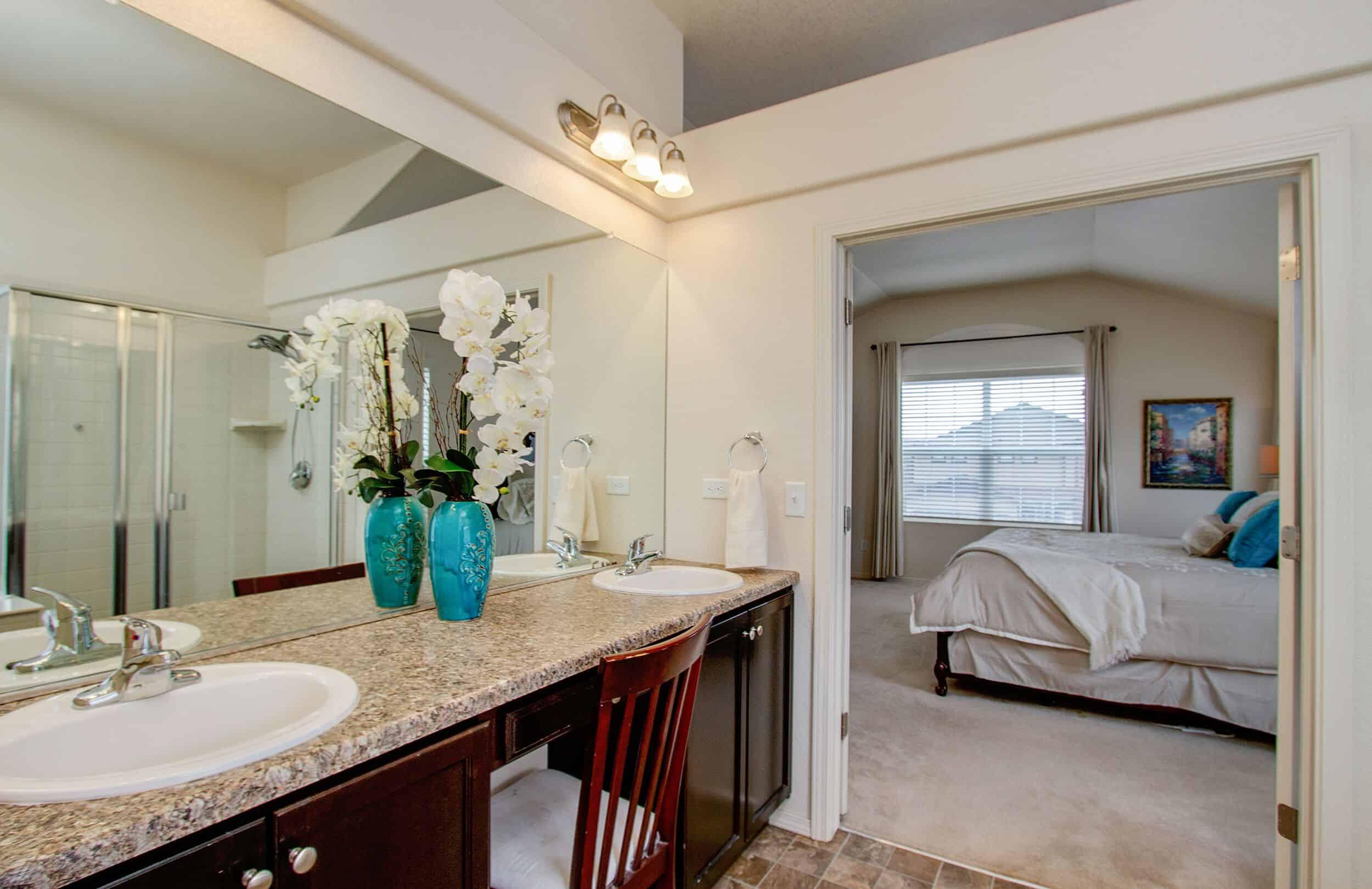 Master Bathroom looking into Master Bedroom