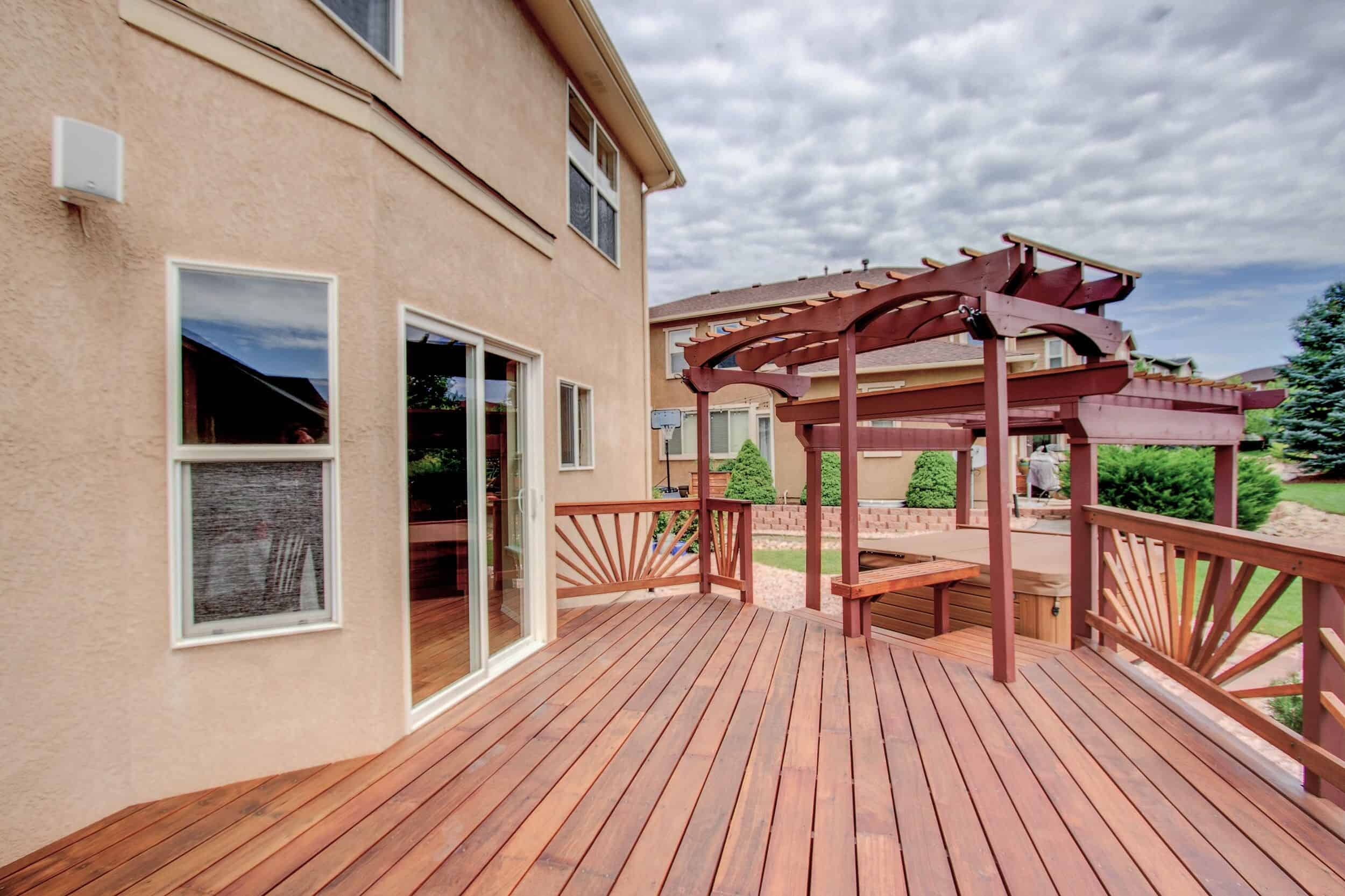 Custom Built Deck with Pergola and Hot Tub