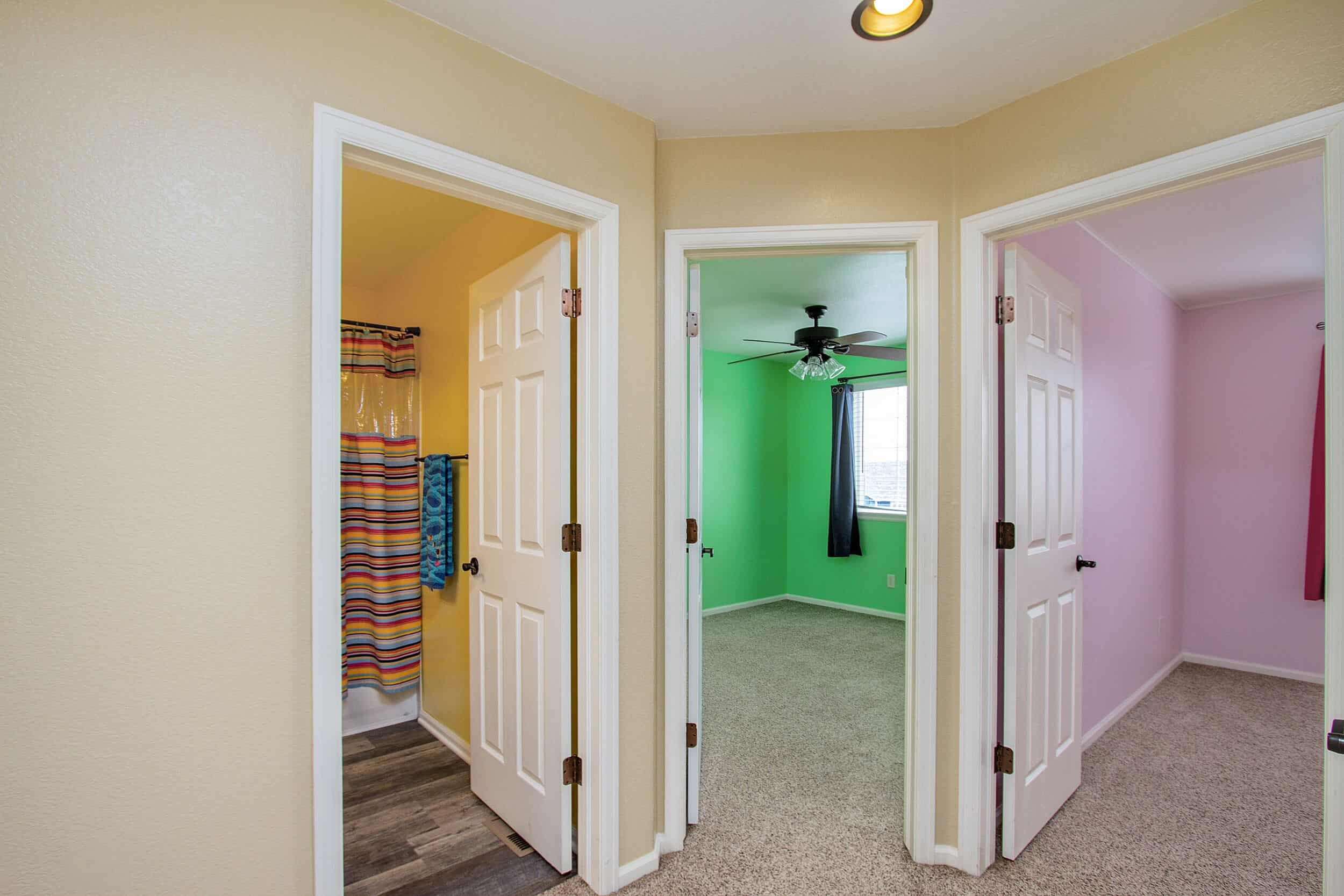 Entry into Upper Level Bedrooms and Hall Bath