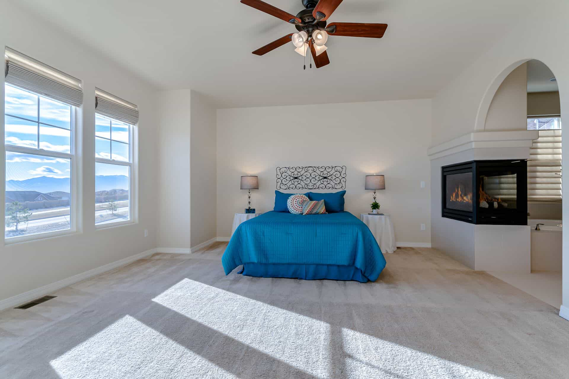 Master Bedroom with Pedestal Fireplace