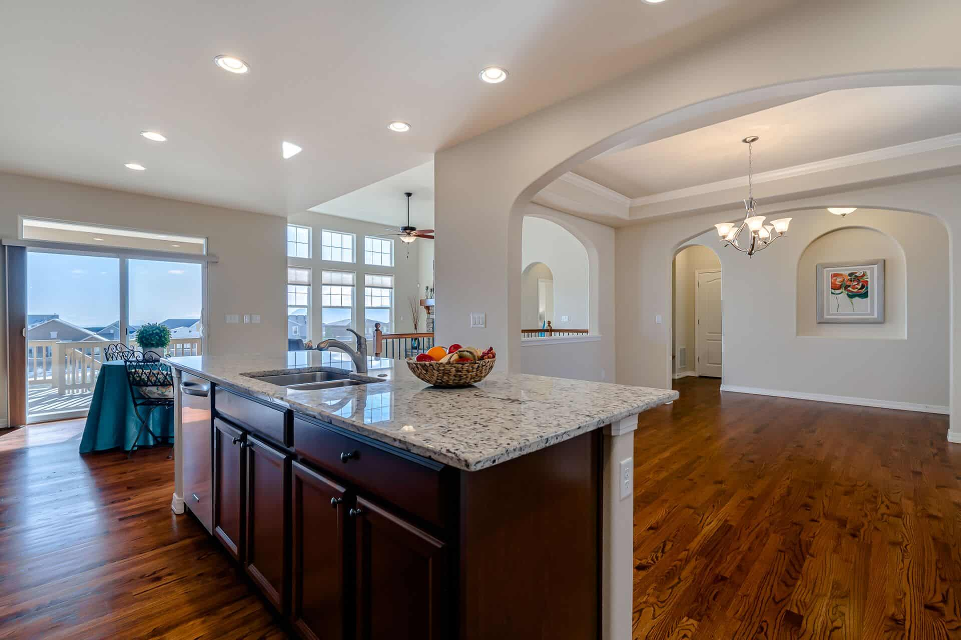 View of Nook and Formal Dining Room from Kitchen