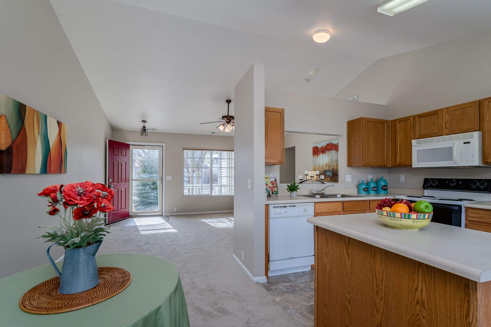 Kitchen, Dining Area, Living Room