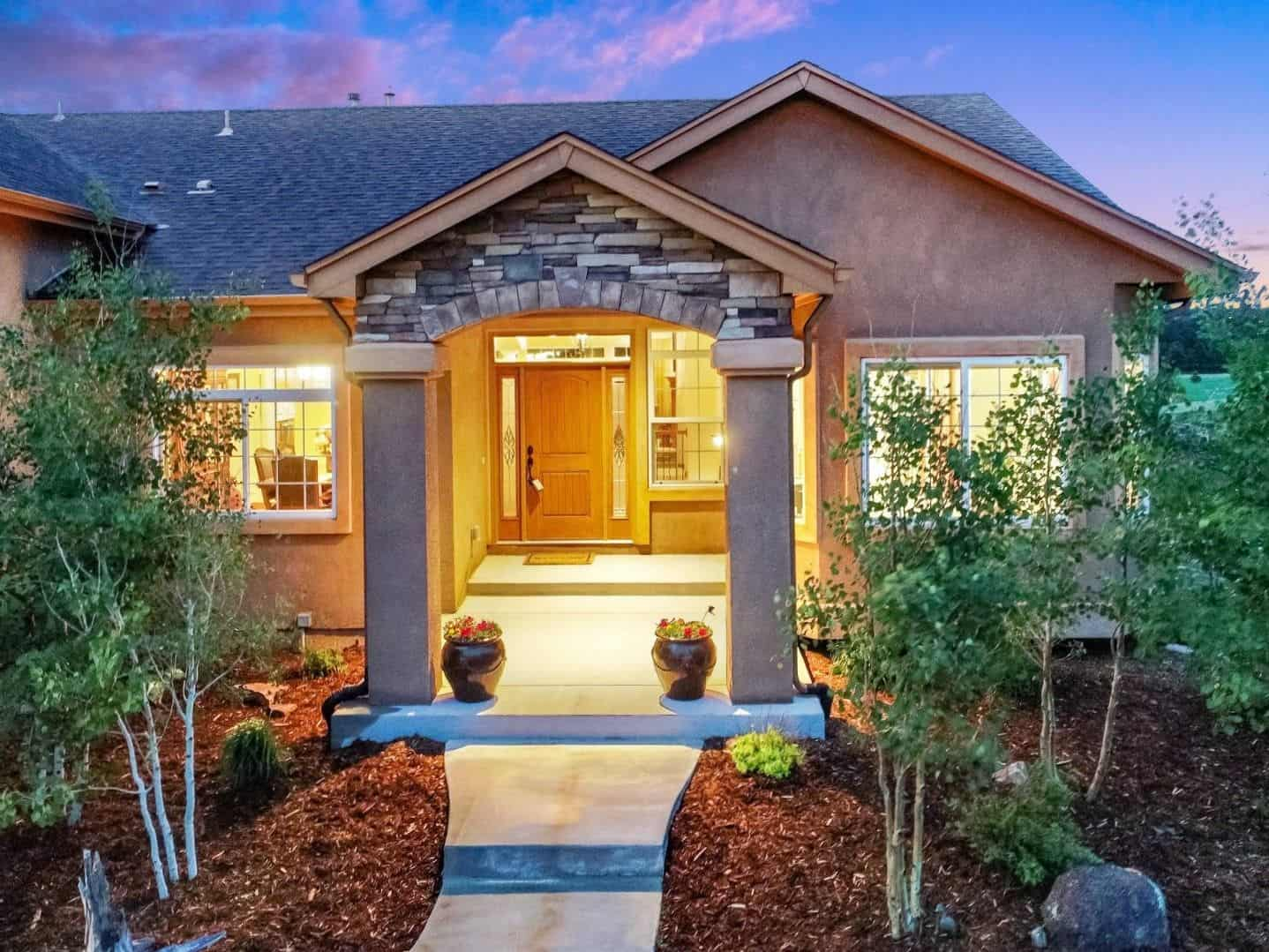 Twilight Views of Covered Front Entry