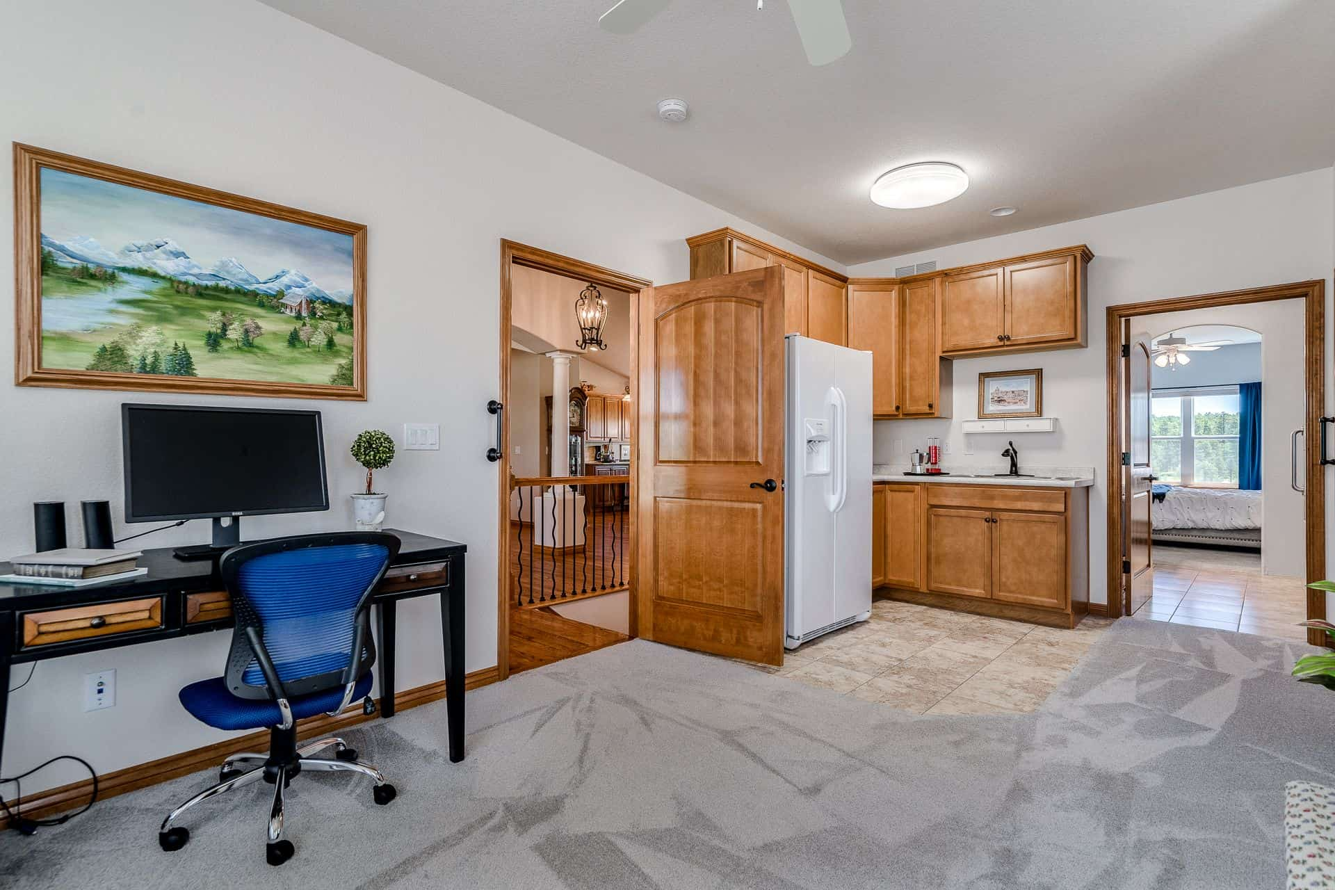 Living Room/Office/BR3 with Wet Bar and Refrigerator