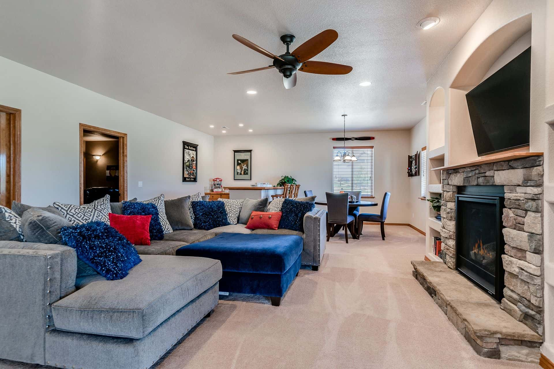 Walk-Out Basement Family Room/Rec Room with Fireplace and Wet Bar